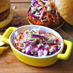 Sweet and Tangy Coleslaw for Buffalo Chicken Burgers