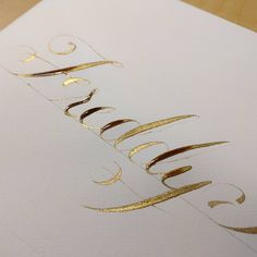 """""""Still wet. Dr Ph Martin #copperplate #Calligraphy #gold #ink with a #Nikko G #nib on a straight holder"""""""