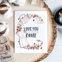 Stamp huge C from coffee word using coffee beans, cups and makers to make a coffee theme card or card for a coffee lover. Details: http://craftwalks.com/2017/06/23/coffee-lovers-blog-hop-giveaway
