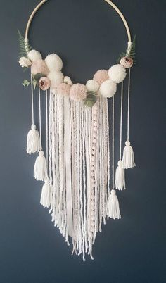 Boho Dreamcatcher - Custom To Order Make your wall beautiful with this soft and boho dreamcatcher! Perfect for any room! The base is a natural wood hoop made of artificial flowers and pom poms. The extensions are a variety of cream ribbon, peachy wool and lace. Size guide