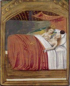 Jupiter et Danaé, Français 137 , Fol. 58 Ovidius, Metamorphoseon libri XV, Belgique, Flandre, XVe siècle
