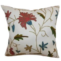 """Decorate your space with a fresh floral throw pillow. This accent pillow features a floral crewel pattern in rust, blue and green hues. This decor pillow is pretty and simple. This square pillow is ideal for many decor styles, including contemporary, lodge and more. Soft and durable, this 18"""" pillow is made from 100% crewel fabric. $55.00 #floralprint #pillows #homedecor"""