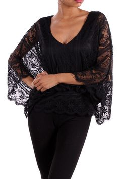 Dressy Lace Blouse Vintage Look Lined Top 3 4 Batwing Sleeves V Neck Black New Vintagelace Blousesbatwing Sleevewedding