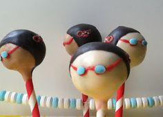 Swimmer cake pops from Evans Says Cupcakes, Cupcake Cakes, Cupcake Ideas, Cake Cookies, Swimmer Cake, Swim Team Gifts, Cake Ball Recipes, Swim Mom, Cute Food