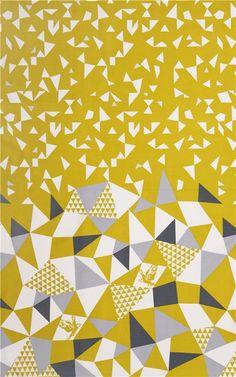 Tissu Etsuko Furuya léger, collection « Huedrawe » avec des oiseaux, des triangles et des décorations argentées
