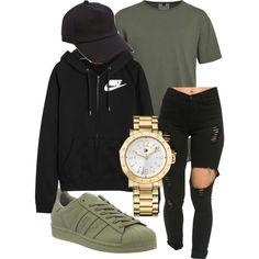 Topman, adidas, NIKE, rag & bone and Tommy Hilfiger Cute Swag Outfits, Nike Outfits, Teen Fashion Outfits, Trendy Outfits, Winter Outfits, Cheap Outfits, Green Outfits, Tommy Hilfiger, Mode Top