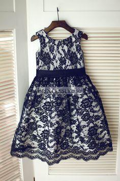 82d22cccdb Princessly.com-K1003228-Ivory  Navy Blue Taffeta Stripes Flower Girl ...