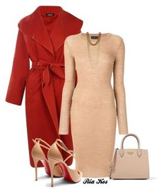 cute dress by ria-kos on Polyvore featuring Cashmere in Love, Boohoo, Christian Louboutin and Prada