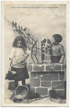 Little Girl Sad for Broken Jug, Vintage Boy Girl Photo, French postcard, Real photo RPPC, Tant va la cruche a l'eau Expression, 1900s by maralecollectibles on Etsy Vintage Boys, Vintage Black, Photo Postcards, Vintage Postcards, Vintage Photographs, Vintage Photos, French Expressions, Vintage Scrapbook, Cute Little Girls