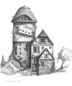 Medieval House Drawing