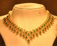 Emeralds and Diamond Necklace by Malabar Gold photo Gold Ruby Necklace, Diamond Necklace Simple, Stone Necklace, Necklace Set, Gold Earrings Designs, Necklace Designs, Jewellery Designs, Jewelry Patterns, Latest Jewellery