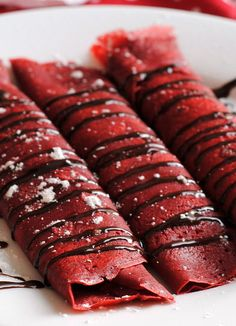 Red Velvet Crepes with Sweet Cream Cheese Filling