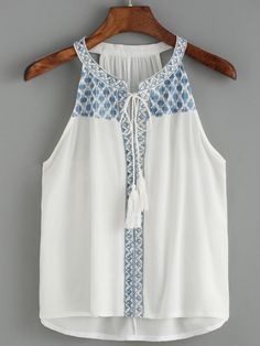 Halter Embroidered White Tank Top