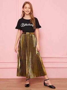 Style: GlamorousColor: GoldPattern Type: PlainLength: Long/Full LengthType: PleatedDetails: PleatedSeason: Spring/Summer/FallComposition: PolyesterMaterial: MetallicFabric: Fabric has no stretchSilhouette: ShiftWaist Type: High WaistArabian Clothing: Yes Girls Dresses Online, Dresses Kids Girl, Cute Girl Outfits, Girly Outfits, Cute Casual Outfits, Girls Fashion Clothes, Teen Fashion Outfits, Girl Fashion, Steampunk Fashion