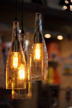 Recycled Wine Bottle Hanging Lamp with Edison Lightbulb Industrial Lighting Chandelier.