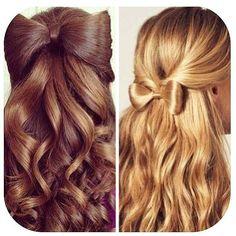 penteado de cabelo com laço diferentes modos