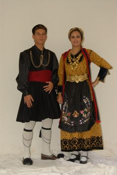 GR~~Ηπειρος-(Traditional festive costumes from Epirus (NW Greece). Late-Ottoman era, end of century. Greek Traditional Dress, Traditional Fashion, Traditional Outfits, Gypsy Costume, Folk Costume, Greek Culture, Muslim Culture, Caucasian Race, Costumes Around The World