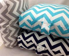 SET OF 3 - Floor Pillows/ Cushions. Aqua, Navy, & Grey Chevron - 22x22x4. Covers only on Etsy, $110.00