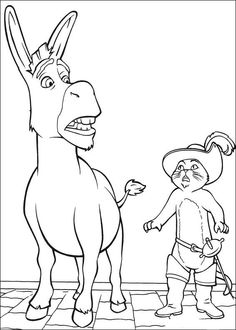 shrek donkey and puss in boots coloring page
