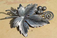 Vintage Mexican Taxco Damaso Gallegos Sterling Silver Grape Leaf Vine Pin Brooch   eBay