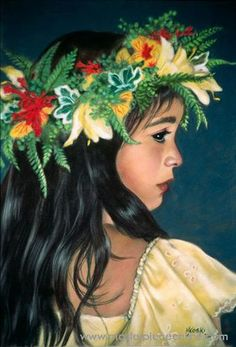 """Lei Aloha"" by Mary Koski (American) Hawaiian Dancers, Hawaiian Art, Hawaiian Tattoo, Polynesian Art, Hula Dancers, Hula Girl, Vintage Hawaii, Tropical Art, Tropical Vibes"