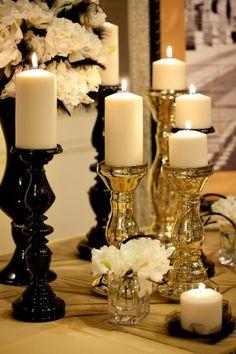 From their Black & Gold inspiration board. Wedding Blog, Our Wedding, Wedding Reception, Wedding Stuff, Wedding Planner, Dream Wedding, Wedding Ideas, Candle Lanterns, Pillar Candles