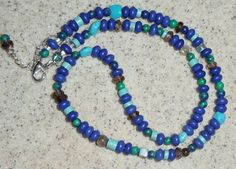 Fantazy necklace in blue turquoise and Lapis Lazuli by LARIMAR, $56.00