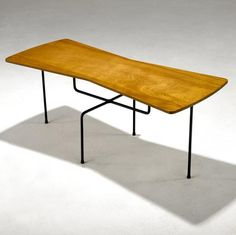 Mario Dal Fabbro; Ash Laminate and Enameled Metal Prototype Side Table, 1950s.