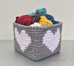 Square Tapestry Crochet Basket made with t-shirt yarn.