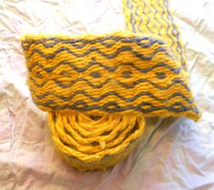 Tablet Woven Viking Belt - Blue and Yellow Wool