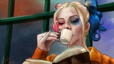 Fanart - Harley Quinn, no filme Esquadrão Suicida com Margot Robbie. Cena da Harley na sela ♥. via @We Heart It.