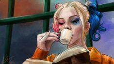 Fanart - Harley Quinn, no filme Esquadrão Suicida com Margot Robbie. Cena da Harley na sela ♥. via @We Heart It.