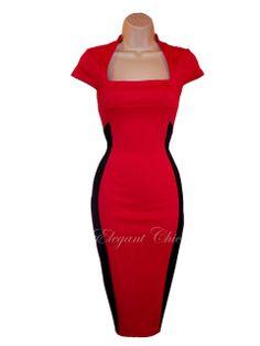 Pencil Wiggle Dress   Colour Block Illusion Red Black Galaxy Pencil Wiggle Dress
