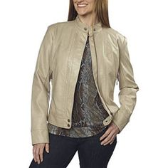 ea534647317 BERNARDO Women's Faux Leather Moto Jacket Tan Soft Wheat Small at Amazon  Women's Coats Shop