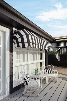 Choose Luxaflex Canopy Awnings and add some traditional charm to your home. These appealing and classic awnings come in a multitude of styles and colours. Renovations, House Exterior, Hamptons House, House Colors, Three Birds Renovations, House, House Landscape, Outdoor Living, Home Decor Pictures