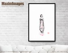 Surreal portrait of a young maiko apprentice geisha walking gracefully and shedding red... Image MXI32539. Buy it as Art print, Canvas print, Wall tapestry, Greetings cards at MaximImages.com #geisha #maiko #sakura #flowers #blossom #zen #geiko #red #concept #conceptual #concepts  #buy #illustration #illustrations #prints #artprint #wallart #fineartprints Zen Home Decor, Sumi E Painting, Fine Art Prints, Canvas Prints, Geisha, Art Images, Wall Tapestry, Surrealism, Art Photography