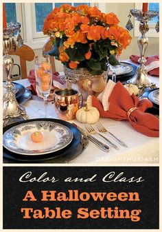 "Every year, I take up the challenge of creating a Halloween table setting that both clearly reads ""Halloween"", yet embodies enough class for adults to enjoy a lovely evening meal 