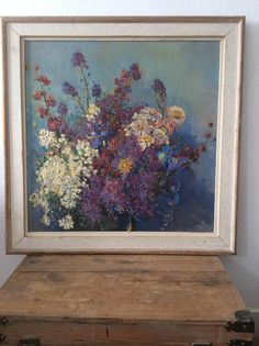 Colorful floral oil painting 1960 bouquet of flowers happy