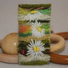 Embroidered and Felted Brooch  Daisies by Lynwoodcrafts on Etsy, £7.00