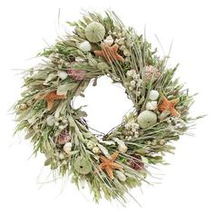 Seashell and Dried Floral Square Wreath  - 17""