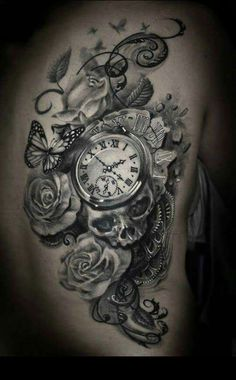 Rosses and pocket watch tattoo with skull and butterflies