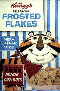 Sugar Frosted Flakes cereal  c. 1959  Tony the Tiger