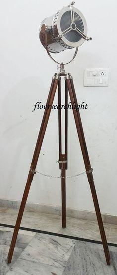 HOLLYWOOD DESIGNER NAUTICAL FLOOR SEARCHLIGHT TRIPOD SPOTLIGHT STUDIO FLOOR LAMP #SSE