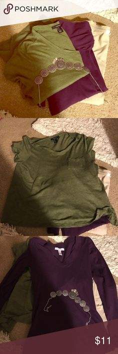 ⭐️Basic top bundle size M!💕 Basic M top bundle with olive green, beige, and purple colored tops. All in great condition minus beige top ( there is a tiny hole from pulling) Please let me know if there are any questions! ☺️💕 brands include forever 21 and ambiance apparel! Forever 21 Tops Tees - Long Sleeve