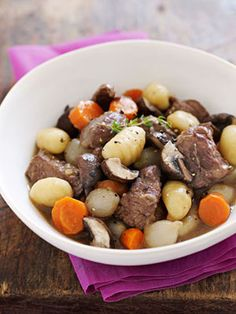 Slow-Cooker Beef Stew with Potato Dumplings from familycircle.com #myplate #slowcooker #beef #protein