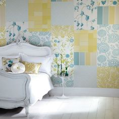 Starch fabric to your walls for an easy, inexpensive, removeable way to update your space! Love this!
