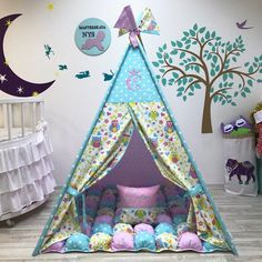 32 Trendy sewing projects for girls room playrooms Diy Teepee, Teepee Tent, Teepees, Kids Tents, Teepee Kids, Girl Bedroom Designs, Kids Bedroom, Kids Sleeping Bags, Cabana