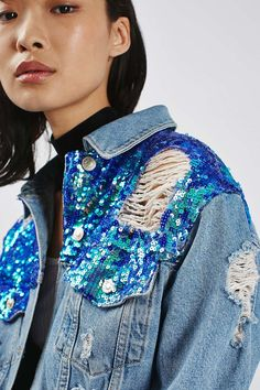 MOTO Sequin Ripped Jacket - Men's style, accessories, mens fashion trends 2020 Diy Jeans, Denim Fashion, Trendy Fashion, Fashion Outfits, Diy Outfits, Modest Outfits, Skirt Outfits, Modest Fashion, Summer Outfits