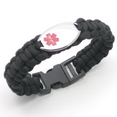 """Chic Alert Medical Id Paracord Medical Alert Bracelet Black 8.5"""". ADD 1.5"""" to Actual Wrist Measurement to Find Correct Size. Stay Safe and Protected in Style! Fuctional & Fashionable Medical ID Bracelet. ENGRAVING NOT INCLUDED, comes with Engraveable 38 x 20mm Stainless Steel Reversible Medical ID tag. Available in Blue, Black, Lime Green, Grey, Hot Pink, Red, Yellow, Emerald Green, Turquoise, Purple & Salmon Pink. Sizes 5.5"""" - 9"""". ADD 1.5"""" to Actual Wrist Measurement to Find Correct…"""