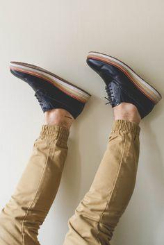 Black Leather and Tri Color Sole Wingtip Shoe. Men's Spring Summer Fashion.